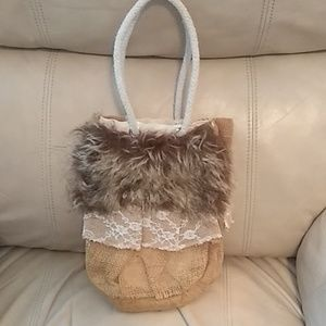 Super Cute Hand Crafted Purse with Fur & Lace